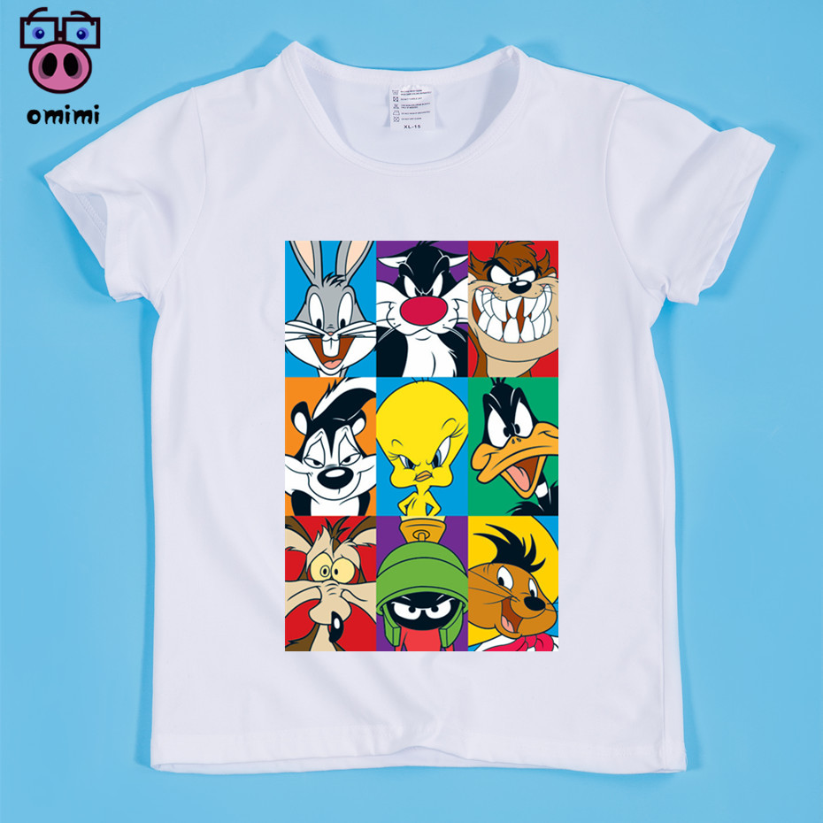 2~9 Year Kid Cartoon Rabbit Duck Print T-shirt Boy and Girl Top Tee Baby Funny CartoonTee Shirt Children Clothing