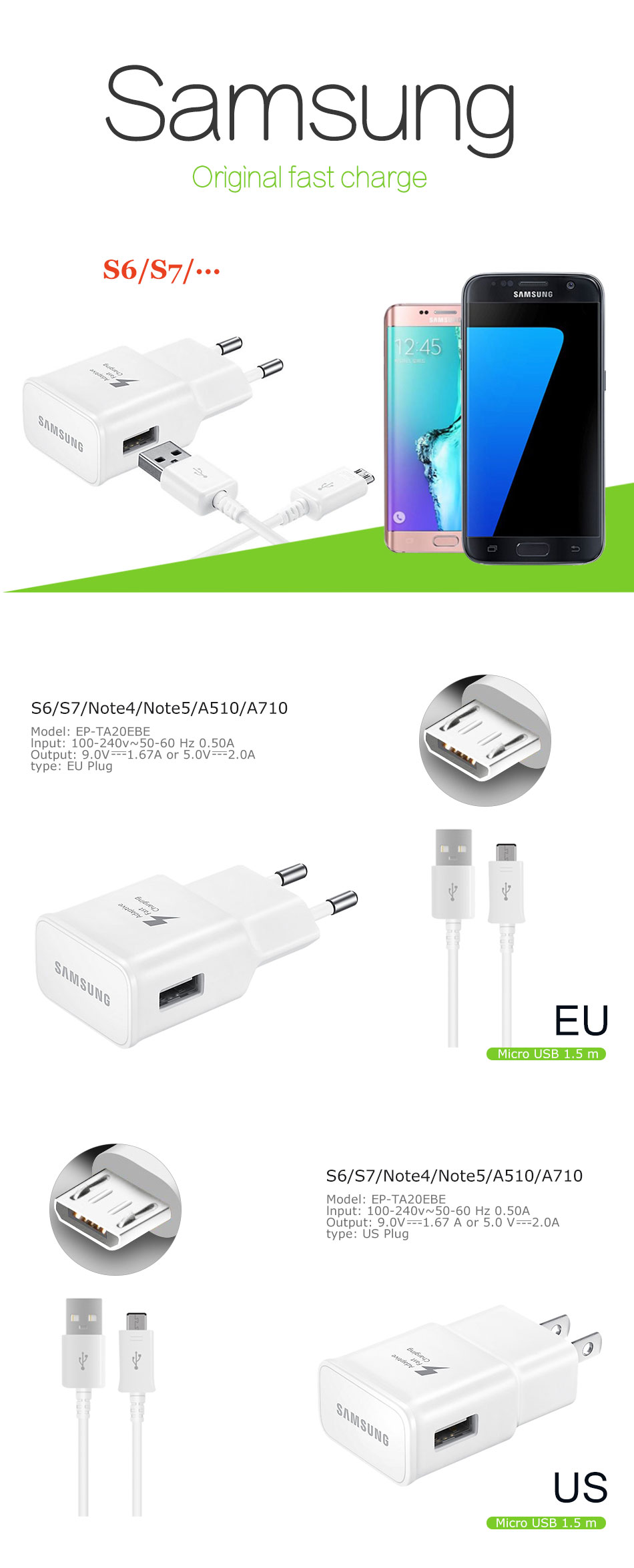 Original Samsung Galaxy Note 4 5 S6 S7 Edge Fast Charger Travel Kabel Data S4 S3 Mega Grand 100 1