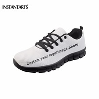 INSTANTARTS Customized Your Own Logo/Photo/Image Pattern Men Flats Shoes Fashion Brand Diy Your Sneakers Black Bottom Footwear