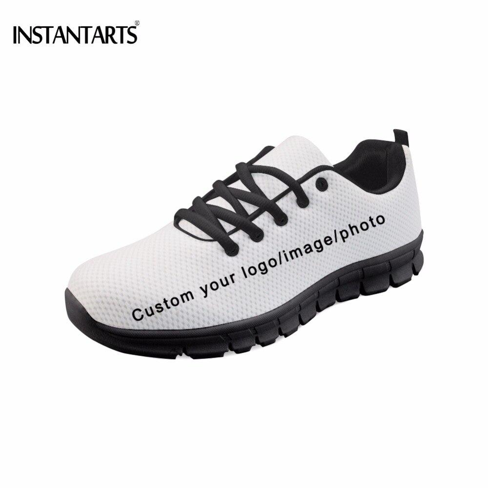 INSTANTARTS personalizado su propio logotipo/foto/imagen patrón hombres pisos zapatos de marca de moda Diy tu zapatillas de deporte fondo negro calzado