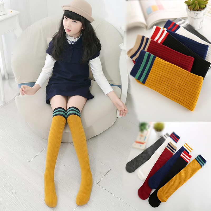 FRALOSHA Sexy Student  Women Long Stocking Fashion Striped Knee Socks Girl Cotton Thigh High Over The Knee Stockings For Ladies
