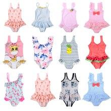 Детское цельнокроеное платье для девочек, купальник с рюшами и рюшами, детский купальник для маленьких девочек, лето 2019, купальный костюм, п...