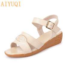 AIYUQI Sandals female 2019 summer new genuine leather wedge sandals, student sandals plus size  43 shoes