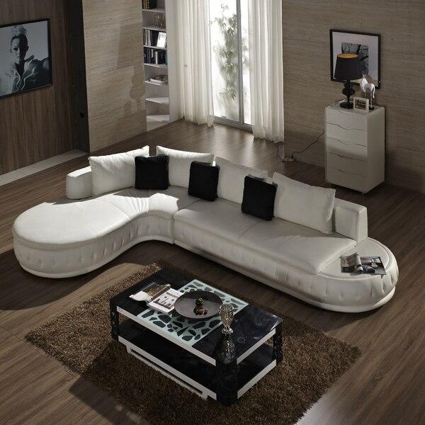 White Leather Living Room Sofa  1