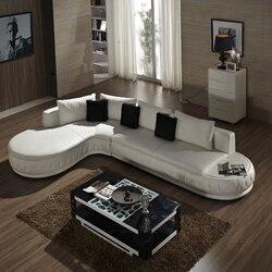Белый диван из натуральной кожи, гостиная + 2 сиденья + otoma/Лот, маленькая мебель для гостиной # CE-226