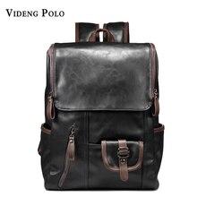 VIDENG POLO Men Backpack PU Leather Laptop Shoulder Bags Multi-pocket soft leather black backpack Preppy Style zipper School Bag