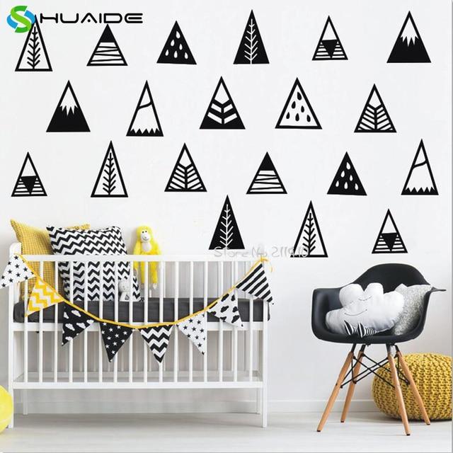 Style nordique diy mignon montagnes stickers muraux pour chambre d ...