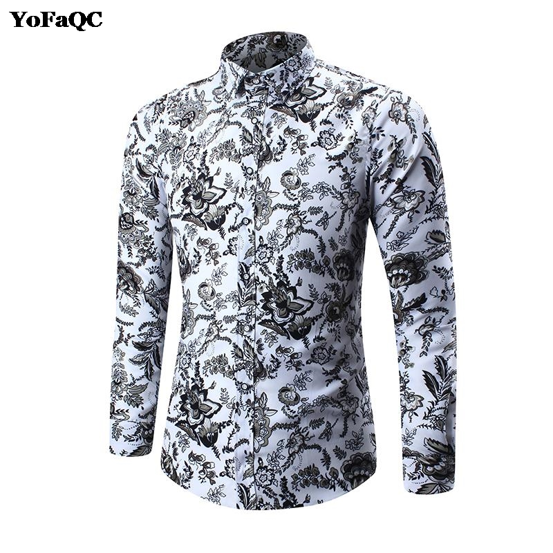 2018 New Spring Floral Print Men Shirts Long Sleeve Mens Casual Shirt Slim Men Flower camisa masculina Printing Dress Shirts 5XL
