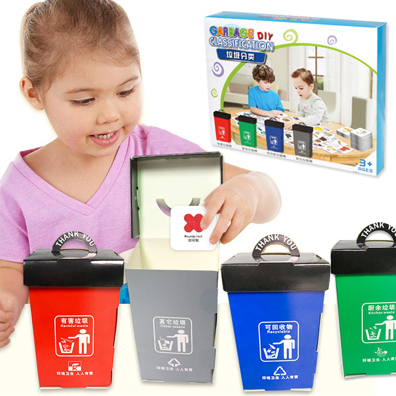 Kids Educational Toys Montessori Sorting Game For Kids Housekeeping Toys Garbage Classification Game Pretend Play Toys(China)