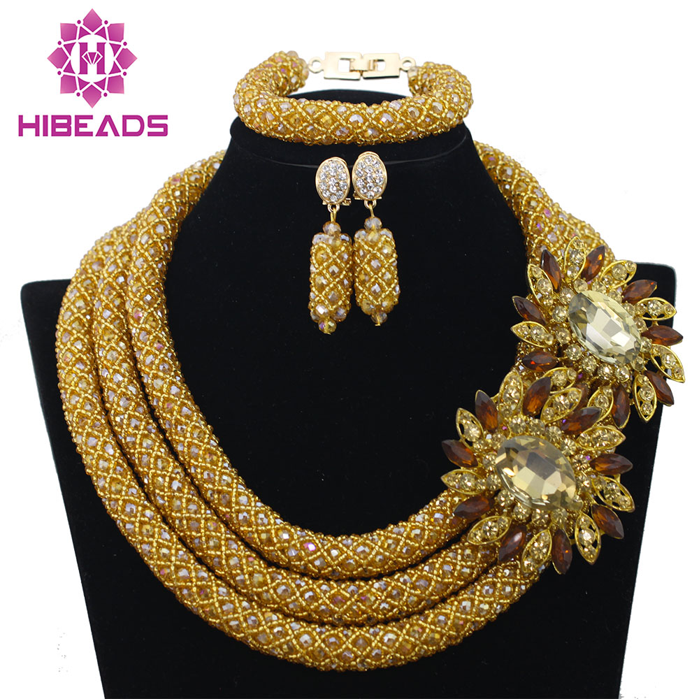 Costume African Crystal Beads Jewelry Set Champagne Gold