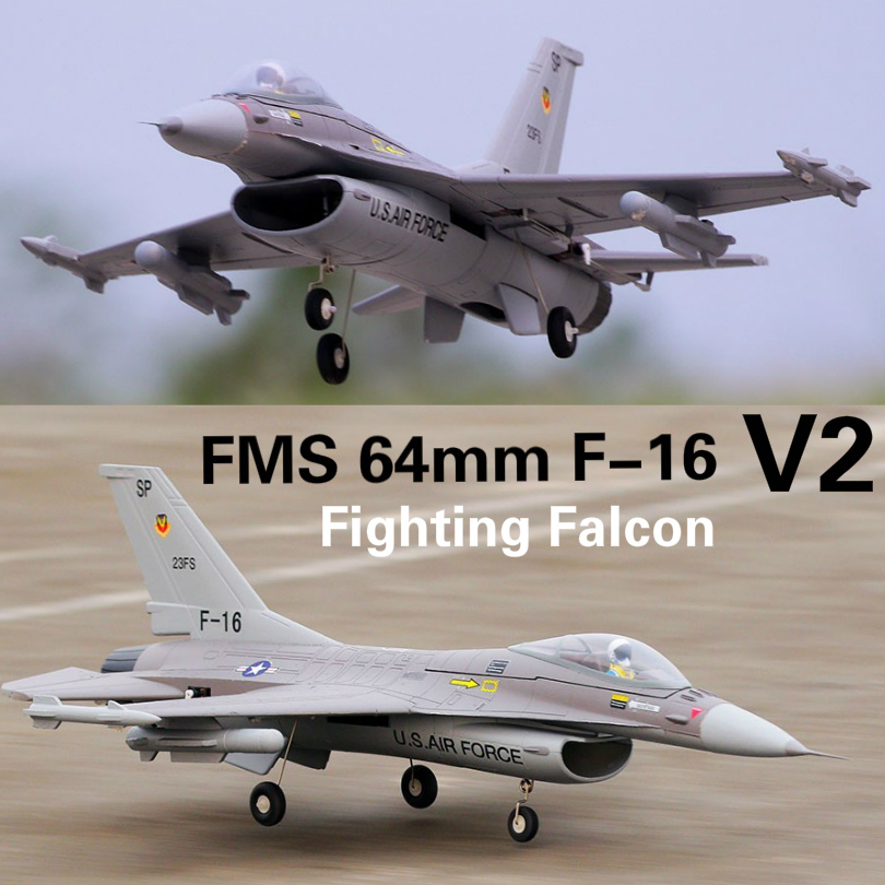 FMS 64mm F16 F-16 V2 Miliciens Ventilateur Soufflant EDF Jet Gris OEB Échelle RC Avion Fighter Modèle Passe-Temps Avion avions Avion PNP