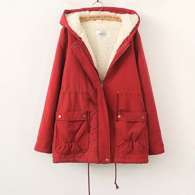 ФОТО UK Brand Newest Winter Women Jacket Red Female Outerwear Plus Size 4XL Thickening Casual Down Sheep Cotton Wadded Coat  Parkas