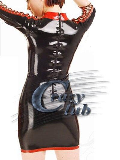 Spliced Et Rouge Fétiche Livraison Rapide Sexy Nouvelle Produits Femmes Noir Mini Robe Latex De Sexe Érotique Main OwTq0C