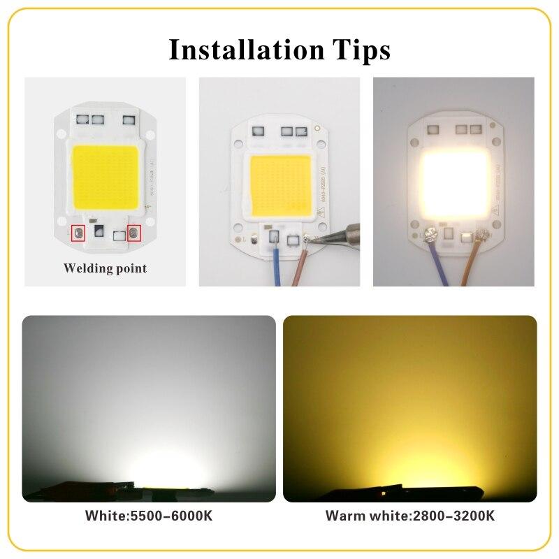 LED COB Lamp Chip 10W 20W 30W 40W 50W AC 110V 220V Smart IC LED Beads DIY For LED Floodlight Spotlight Cold White Warm White 5