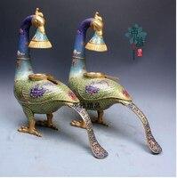 Медь латунь китайский ремесла украшения азиатских Медь Перегородчатые Павлин масляная лампа пара религиозные предметы коллекции повторны