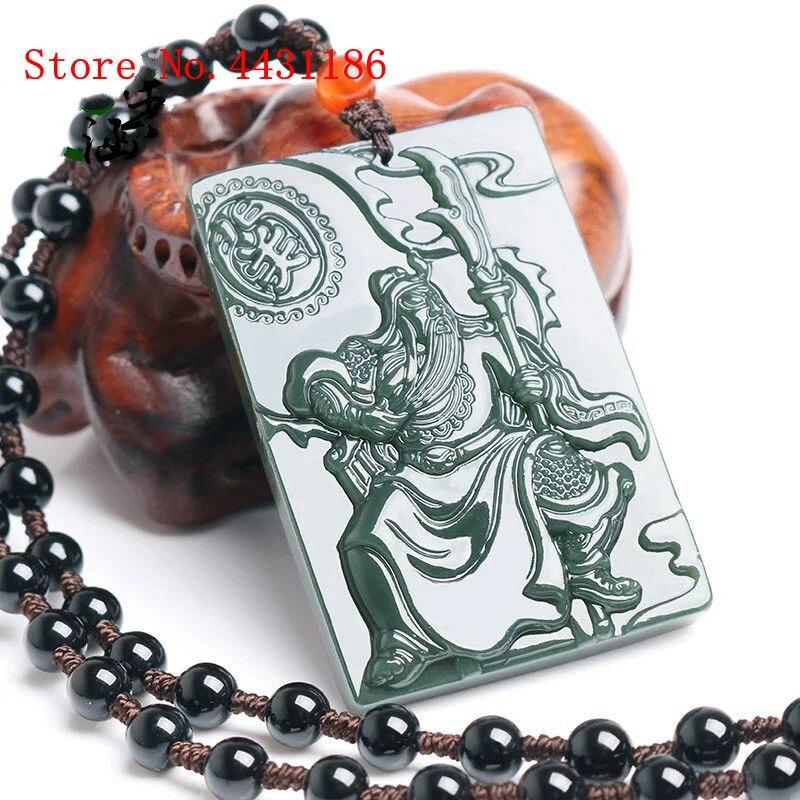 Natuurlijke Nefriet Ketting Hanger Oude China Warrior Guan Yu Jade Merk Mannen Hanger Amulet Beste Cadeau Hooggeprezen En Gewaardeerd Worden Door Het Consumerende Publiek