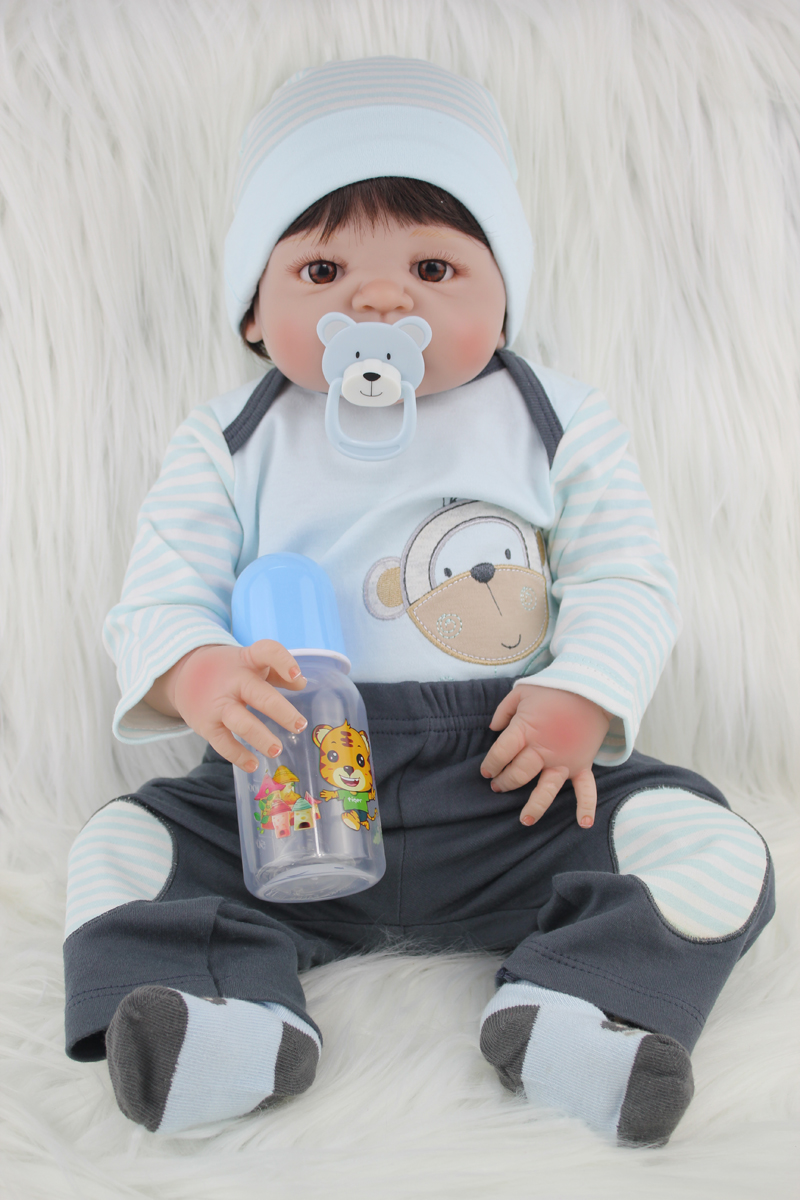 Full Silicone Body Reborn Baby Doll Toys Lifelike 55cm Newborn Boy Babies Dolls For Kids Fashion Birthday Present Bathe Toy 55cm full silicone body reborn baby boy doll toys lifelike 22inch newborn babies toddler dolls birthday present bathe toy girls