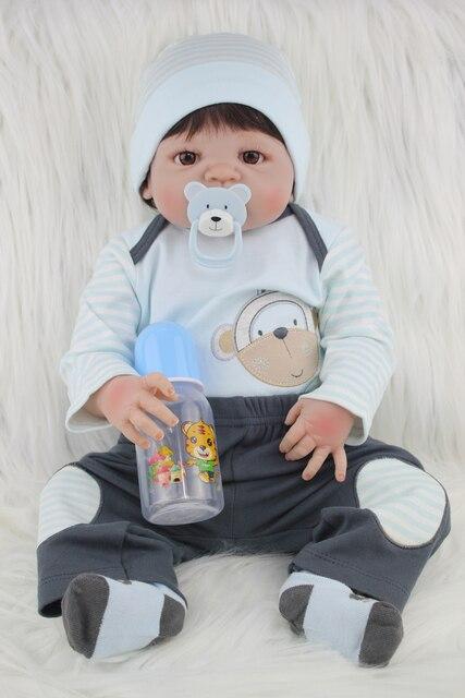 Полный Тело Силикона Reborn Baby Doll Toys Реалистичного 55 см Новорожденный Мальчик Дети Куклы Для Детей Моды Подарок На День Рождения Купаться Игрушки