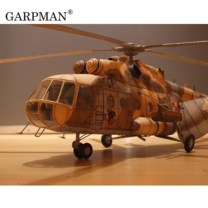 1:33 Poland Mi-17 Transport Helicopter 3D Paper Model Handmade DIY Papercraft