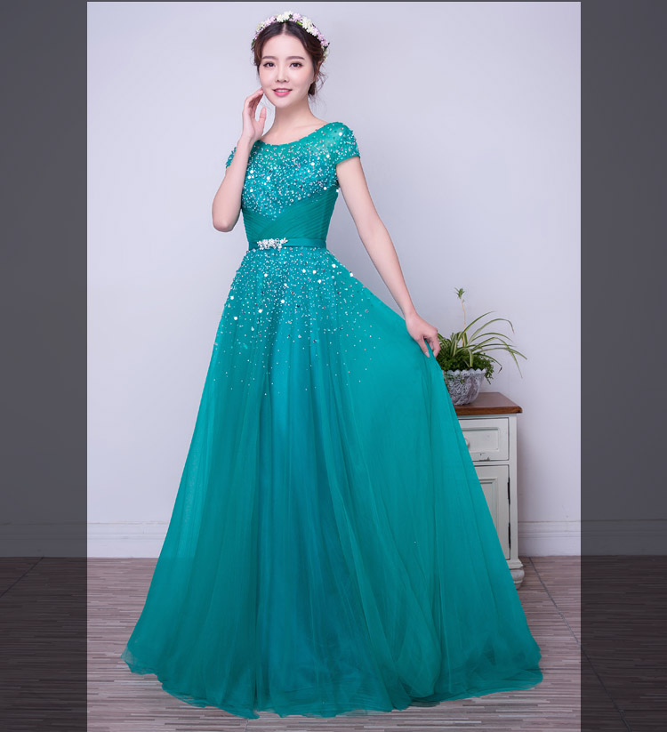 Turquoise Tulle A-line Long Modest   Prom     Dresses   With Short Sleeves 2019 Beaded Crystals Elegant Formal Women Party   Dresses   Real
