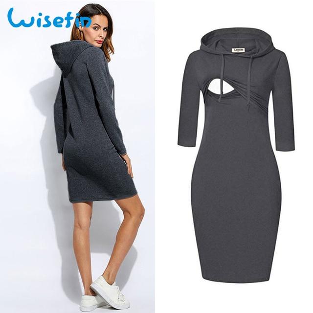 9c3ab7193b0 Wisefin Pregnant Hoodies Sweatshirt Dress Maternity Dresses Long Sleeve  Nursing Dress Pregnancy Clothes Breastfeeding Dress robe