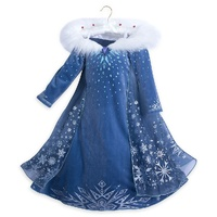 Anna and Elsa Dresses for Girls Princess Snow Queen Fancy Dress Kids Girl Party Cosplay Costume with Fur Collar Snowflake Cape