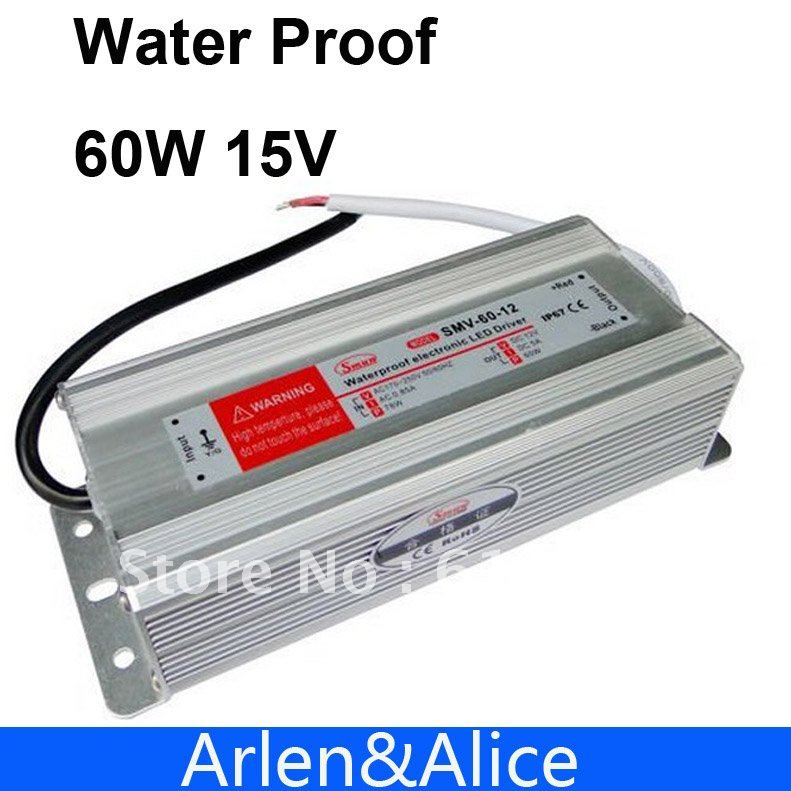 60W 15V 4A Waterproof outdoor Single Output Switching power supply AC TO DC SMPS