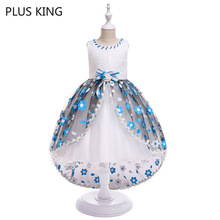 Fashion Flower Girls Dress for 4 To 10 Years Old Girl Tuxedo Birthday Party and Wedding Dresses Blue Purple Pink 3 Colors fashion green and pink rainbow flower fairy costume for girls birthday cupcake layered dresses