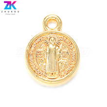 ZHUKOU 11x14mm Round Religious Pendant Exquisite Brass Cubic Zirconia Charms for Necklace Earrings Jewelry Accessories Model:PD4(China)