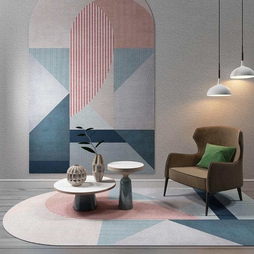 Tapis géométrique nordique salon Table basse en forme de tapis tapis couleur tapis mode personnalité en forme de tapis tapis de sol