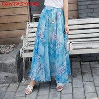 FANTASYONE Summer Beach Chiffon Skirt Fashion Women High Waist Pleated Long Skirt Lady Party Maxi Casual