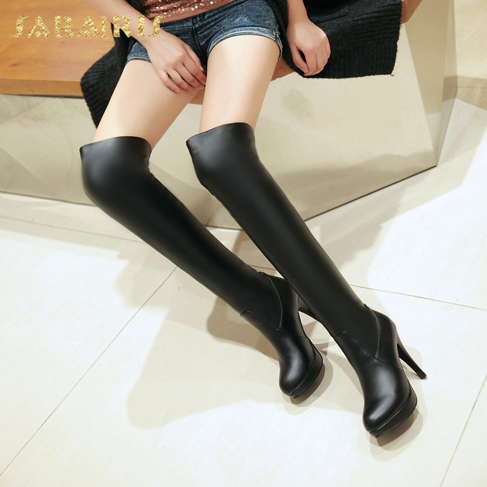 SARAIRIS Wholesale Brand New Plus Size 34-43 Hot Sale Sexy Thin High Heels Boots Woman Shoes Basic Platform Over The Knee Boots все цены