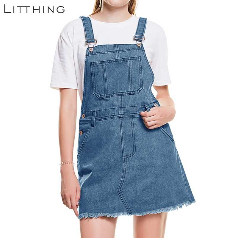 6c76199a815a59 LITTHING 2019 Summer Women Casual Denim Mini Dress Hem Distressed Denim  Overall Pocket Strap Sleeveless Ripped