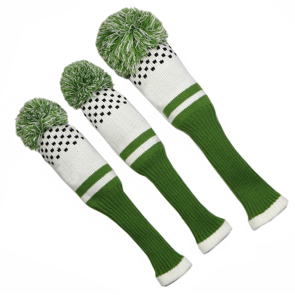 Image 4 - New Style 3pcs/set 3 color Stripe Kniting Golf Driver Wooden Head Covers Knit Wool 1 3 5 Fairway Protect Headcover-in Club Heads from Sports & Entertainment