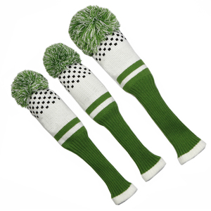 Image 4 - New Style 3pcs/set 3 color Stripe Kniting Golf Driver Wooden Head Covers Knit Wool 1 3 5 Fairway Protect Headcover