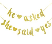 METABLE 1SET Qttier He Asked She Said Yes Gold Glitter Banner - Wedding, Engagement, Bridal Shower Party Decorations kelly e he said she said