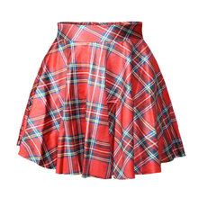 X-078 Tartan Red Digital Print Women saia skirt sexy punk short pleated Skirt(China)