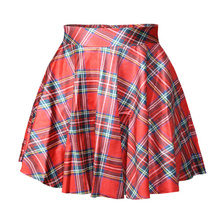 X 078 Tartan Red Digital Print Women saia skirt sexy punk short pleated Skirt