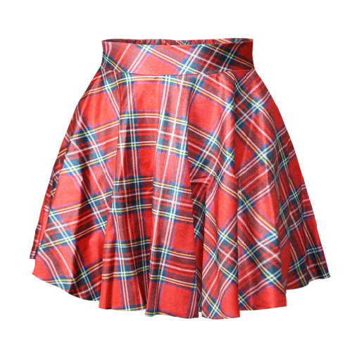 X 078 font b Tartan b font Red Digital Print Women saia skirt sexy punk short