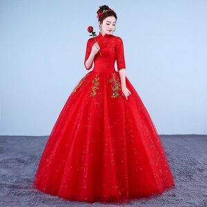 Image 4 - Photo réelle Vintage robes De mariée 2020 col haut Style coréen rouge romantique mariée princesse or dentelle broderie Vestido De Novia