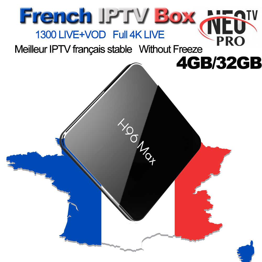 Français IPTV H96 Max X2 Android 7.1 Smart TV BOX 4G/32G + 1300 + NEOTV Pro arabe Beigium maroc PayTV & VOD Smart Set décodeur TV