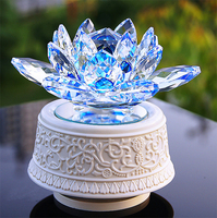 Free Shipping, 11*11*5cm Blue Crystal lotus with Rotate white music box , birthday gift, girls gifts