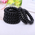 4PCS /lot Hot Sale Black Hair Rope PLUS Black Telephone Line Hair Ring Rubber Band Hair Jewelry Wholesale