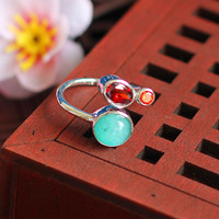 S925 silver jewelry simple lady Amazonite ring opening new listing
