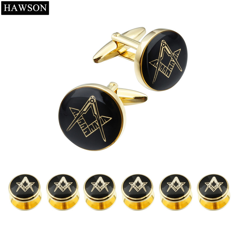 Brand Hawson Black Enamel Cufflinks Tuxedo 6 Studs Set Wedding Dress Shirt Luxury Cuff links High Quality Classic Free-Mason