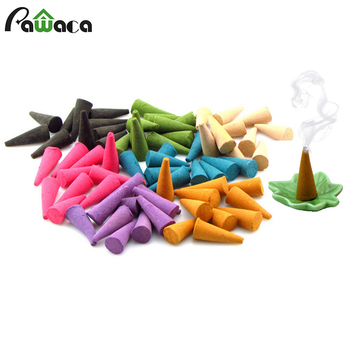 125pcs/bag Mixed Fragrant Incense Cone Spire Sandalwood Natural Reflux Smoke Backflow Home Aromatherapy Particles with Tray 150g