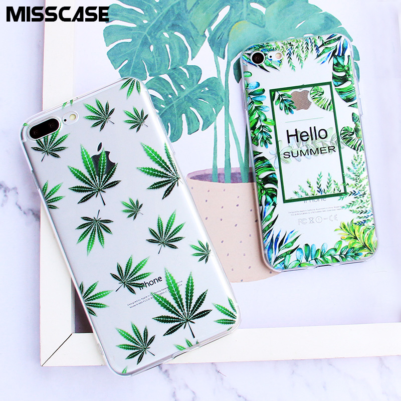 MISSCASE Soft TPU Phone Case for iPhone X 7 8 plus Leaf Clear Silicone Cover coque for Apple iPhone 6 6s plus 5 5S SE Case capa