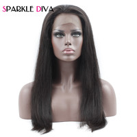 Sparkle Diva 360 Lace Frontal Wigs Brazilian Straight Human Remy Hair Wig 10 22 Inch Pre