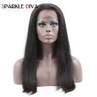 Pré Plumées 360 dentelle frontale perruques avec bébé cheveux 10-22 pouce étincelle Diva Brésilienne Droite de Cheveux Humains Perruques avec Bébé Cheveux Remy