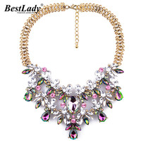 Women Fashion Luxury Statement Colorful Flower Necklace Gem Clain Luxury Drop Brand Necklace 9604